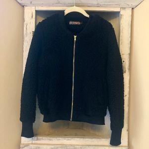 Black Fuzzy Bomber Jacket